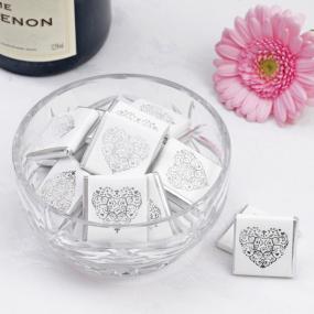 White & Silver Favour Chocolate Squares - Vintage Romance