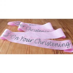 Pink Satin Christening Banner - 2 Metres