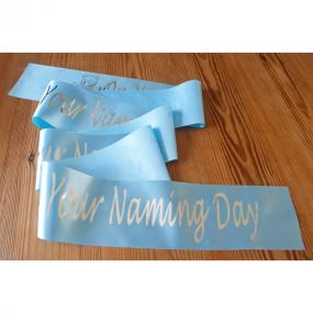 Blue Satin Naming Day Banner - 2 Metres