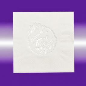 White and Silver Christening Napkins - Luncheon size