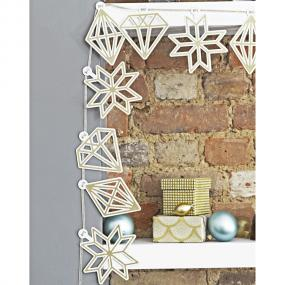 Gold Glitter Diamond Christmas Garland