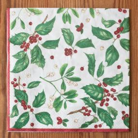 Christmas Paper Paper Dinner Napkins - Holiday Greens by Caspari