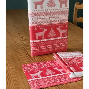 Red Reindeer Design Christmas Dinner Napkins - Helene