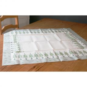 Silver Trees Central Christmas Paper Tablecloth