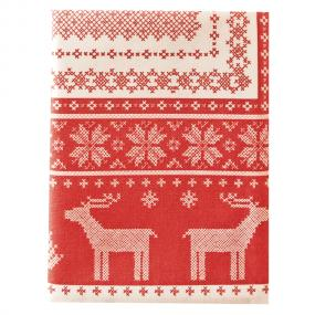 Red Central Christmas Paper Tablecloth - Helene