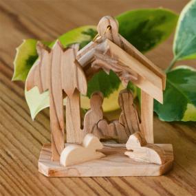 Olive Wood Mini Nativity Christmas Tree Decoration