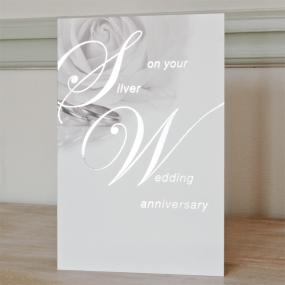 25th Silver Wedding Anniversary Card - Roses