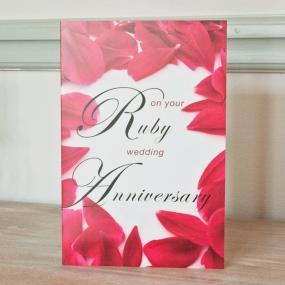 40th Ruby Wedding Anniversary Card - Petals