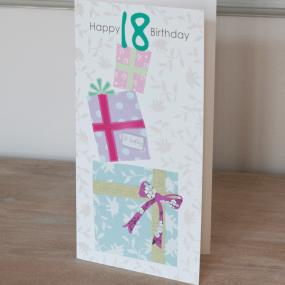 18th Birthday Card - Gift Boxes