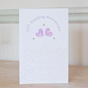 25th Wedding Anniversary Card - Sequin Hearts