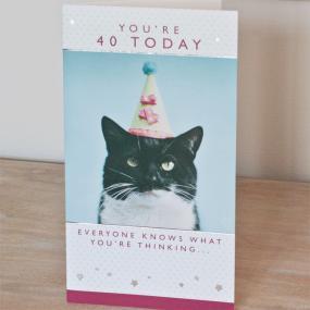40th Birthday Card - Cat Design