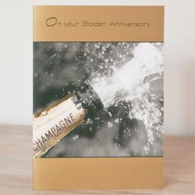 50th Golden Wedding Anniversary Card - Champagne