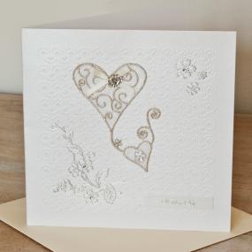 Diamante Heart Wedding Card