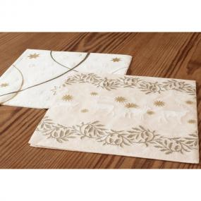 Gold and White Embossed Paper Christmas Luncheon Napkins - Reindeer
