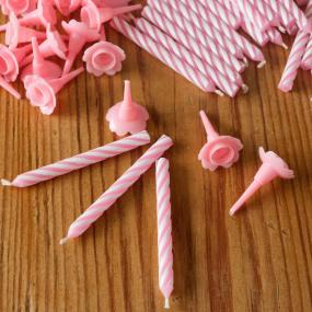 Pink Birthday Cake Candles and Holders