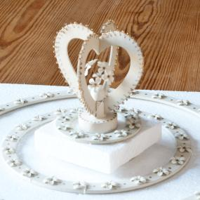 Heart Crown Cake Topper and Small Ring - Wedding Cake Decoration