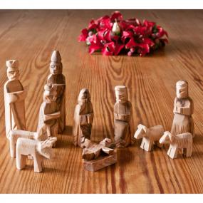 Bethlehem Olive Wood Nativity Figures Set - 12 Pieces