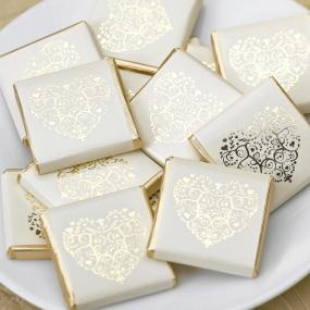 Vintage Romance Ivory and Gold Chocolate Squares