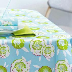 Blue & Green Florals Linen Feel Tablecloth