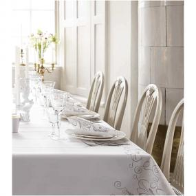 Celebration White and Silver Linen Feel Tablecloth