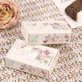 Vintage Print Cake Boxes x 10 - With Love