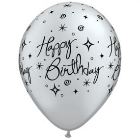Silver Happy Birthday Balloons x 6