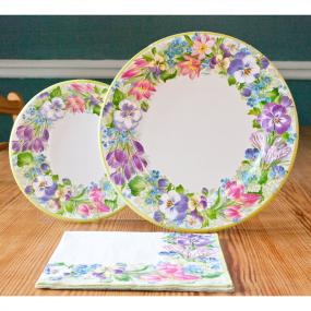 Spring Garland Paper Dinner Plates