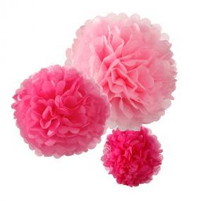 Pink Pom Poms x 3