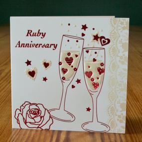 40th Ruby Wedding Anniversary Invitations - Champagne x 5