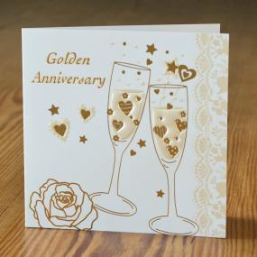 50th Golden Wedding Anniversary Folded Invitations x 5 - Champagne