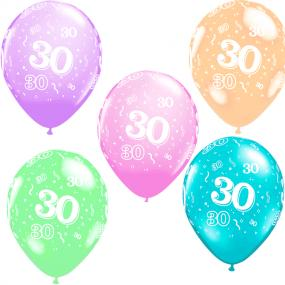30th Birthday Latex Balloons x 5
