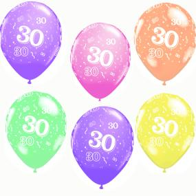 30th Birthday Latex Balloons x 6