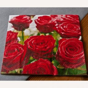 Splendid Red Roses Luncheon Napkins