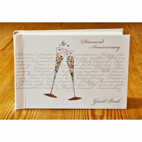 60th Diamond Wedding Anniversary Guest Book - Champagne