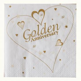 2 Ply Golden Anniversary Luncheon Napkins - Hearts