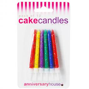 Multi Coloured Birthday Cake Candles x 12