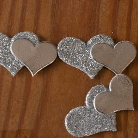 Self Adhesive Silver Glitter Double Hearts x 12