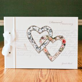 Large Diamond Wedding Anniversary Guest Book - Hearts