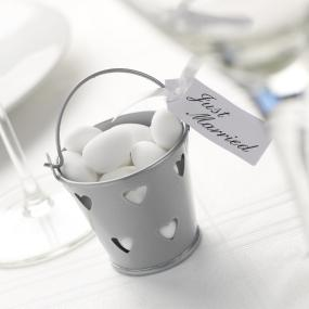 Small Silver Heart Favour Pails - Pack of 5