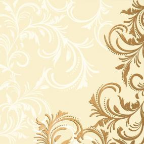 Celebration Gold and Cream Scroll Linen Feel Dinner Napkins