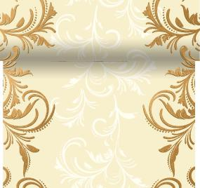 Celebration Gold and Cream Scroll Paper Table Runner