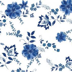 Blue Flower Linen Feel Dinner Napkins