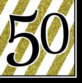 Black, White and Gold 50th Birthday Luncheon Napkins