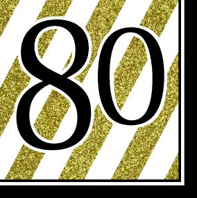 Black, White and Gold 80th Birthday Luncheon Napkins