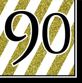 Black, White and Gold 90th Birthday Luncheon Napkins