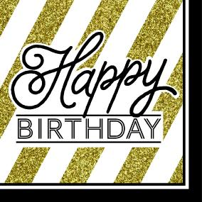 Black, Gold and White Happy Birthday Napkins - Luncheon Size