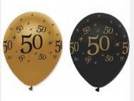 50th Birthday Black and Gold Pearlescent Latex Balloons x 6