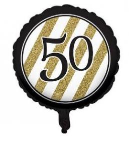 50th Birthday Foil Balloon - Black, White and Gold