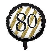 80th Birthday Foil Balloon - Black, White and Gold