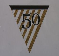 50th Birthday Paper Bunting - White, Black and Gold